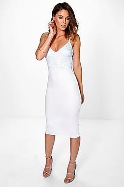 Tammy Lace Top Strappy Midi Bodycon Dress