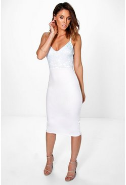 Tammy Lace Top Strappy Midi Bodycon Dress