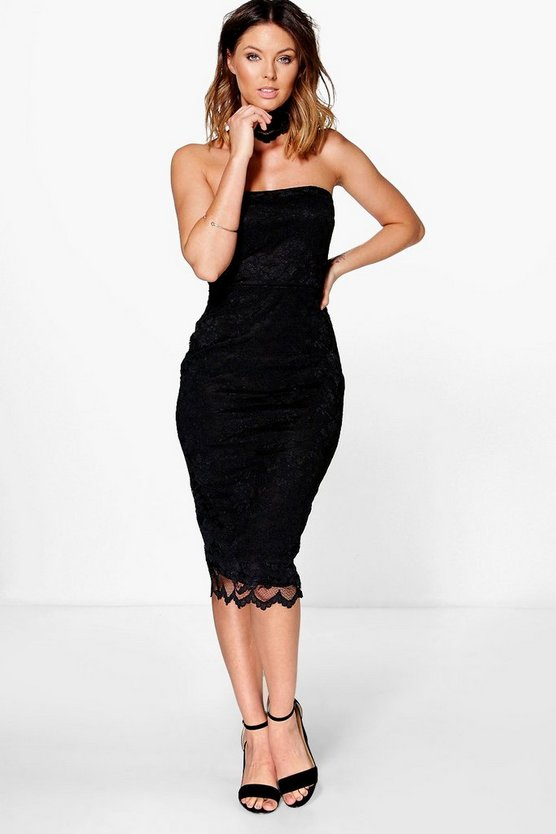 Ava Lace Choker Bandeau Midi Dress