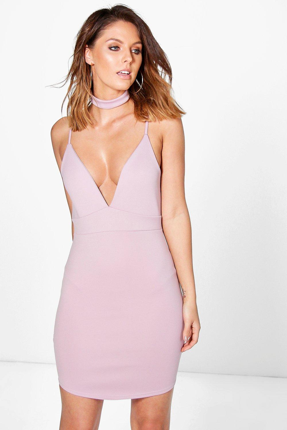 Strappy Detachable Choker Bodycon Dress mauve
