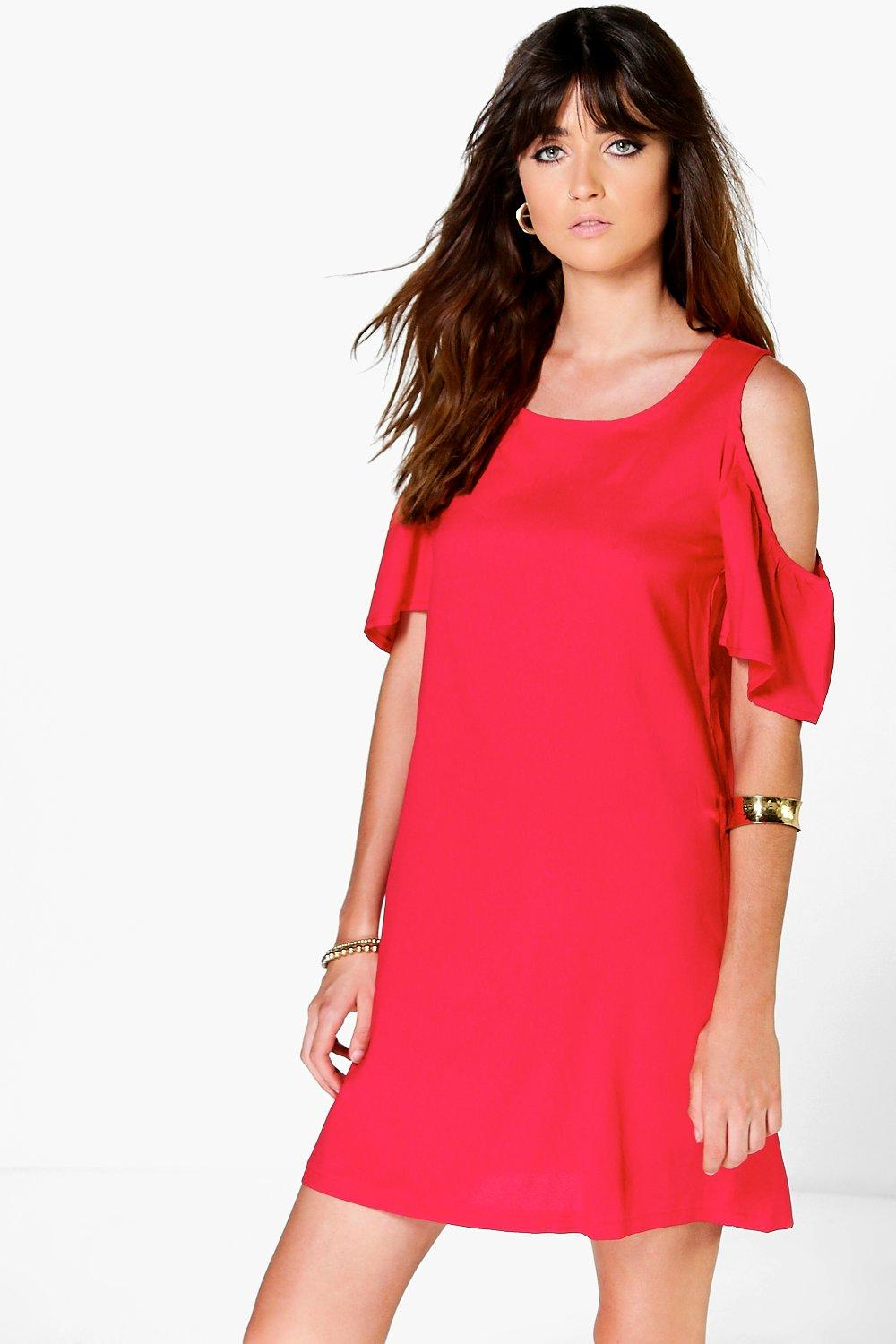 Veronica Cold Shoulder Flute Sleeve Shift Dress