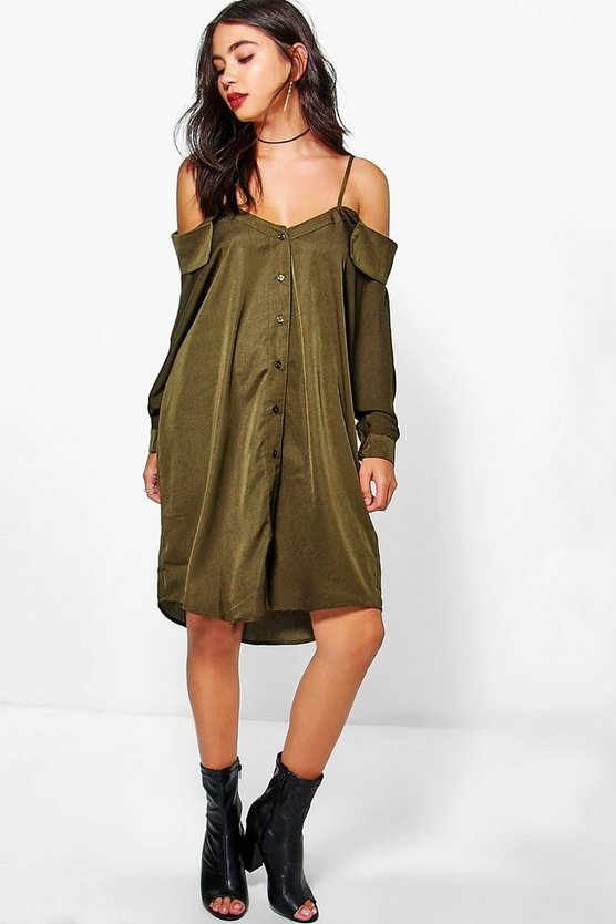 Selena Cold Shoulder Collar Shirt Dress