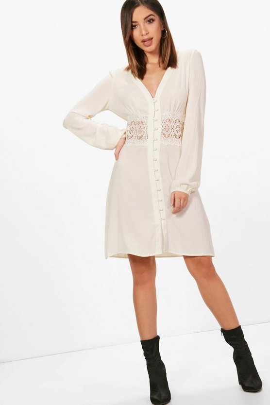 Lace Waist Trim Shirt Dress