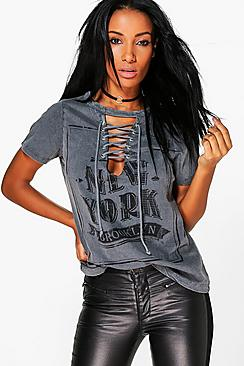 Lola Washed Printed Lace Up T-Shirt