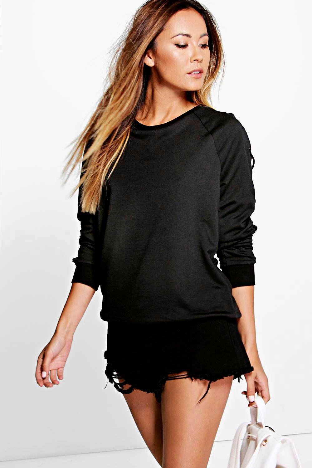 Imogen Lace Up Sleeve Sweatshirt
