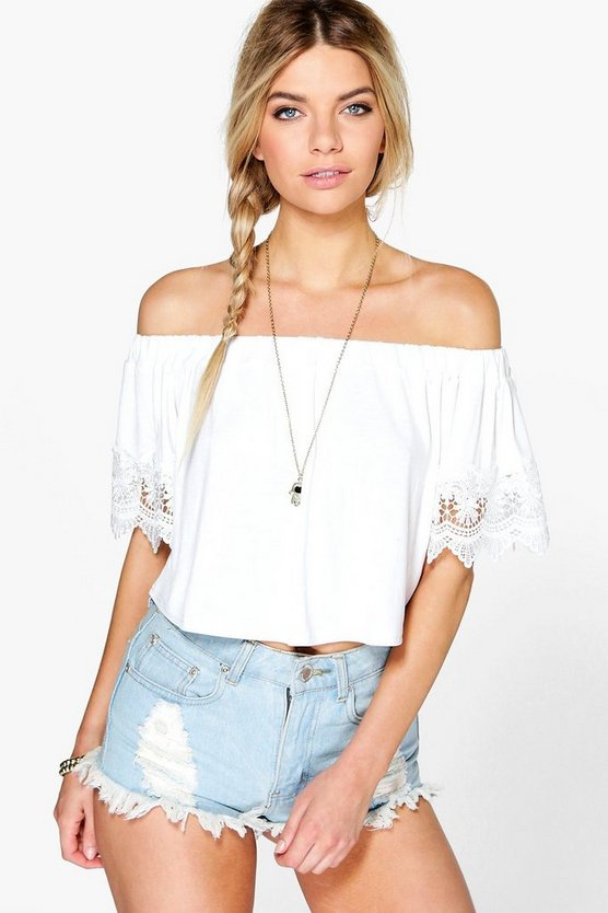 Mandy Crochet Trim Off The Shoulder Top