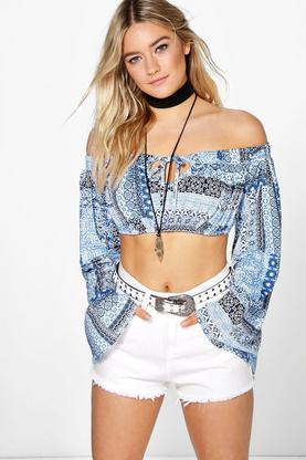 Rose Tile Print Flare Sleeve Crop
