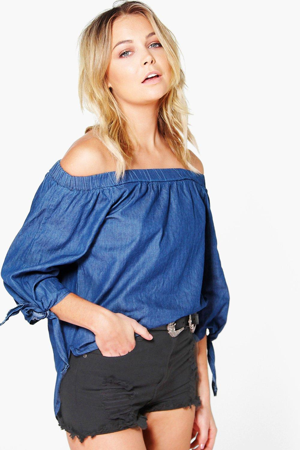 Ava Off The Shoulder Tie Sleeve Denim Top