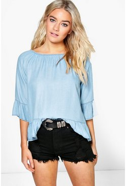 Erica Light Wash Denim Ruffle Top