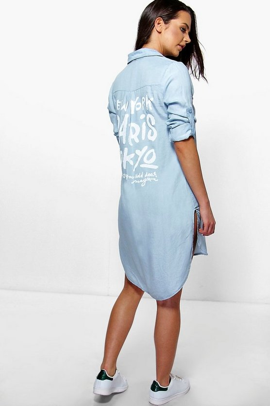 Serena Back Print Longline Denim Shirt Dress
