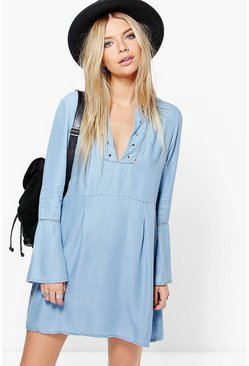 Ashley Flute Sleeve Lace Up Denim Dress