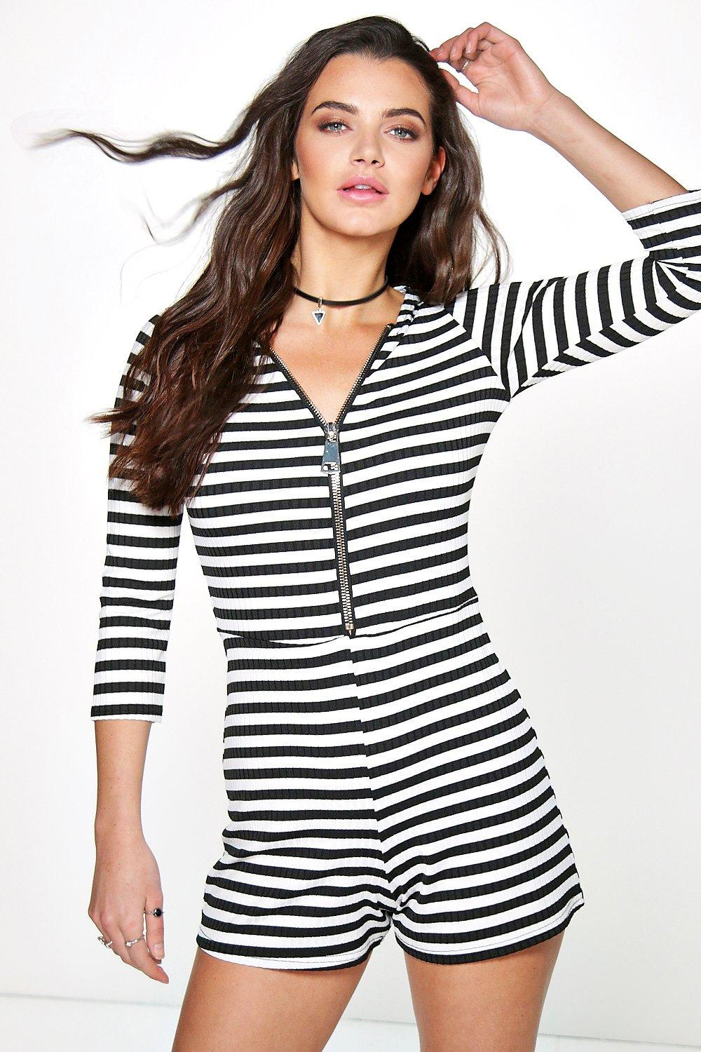 Ada Zip Front 3/4 Sleeve Striped Playsuit