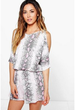 Ava Snake Print Split Sleeve Playsuit
