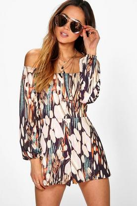 Amy Feather Print Off The Shoulder Playsuit