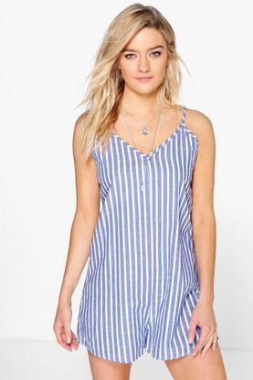 Joanna Stripe Denim Trapeze Playsuit