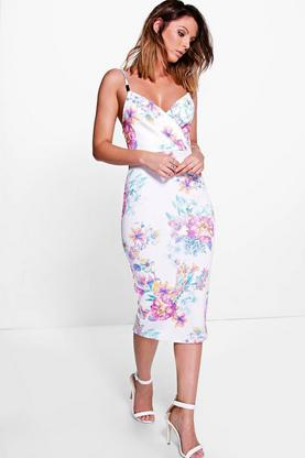Antoinette Floral Wrap Trim Midi Dress