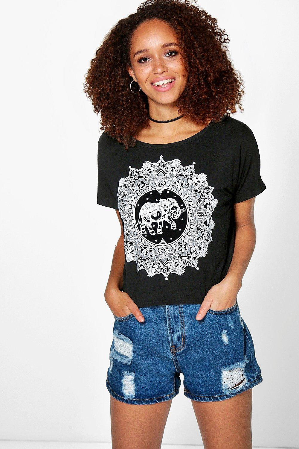 Lilly Elephant Print Crop Tee