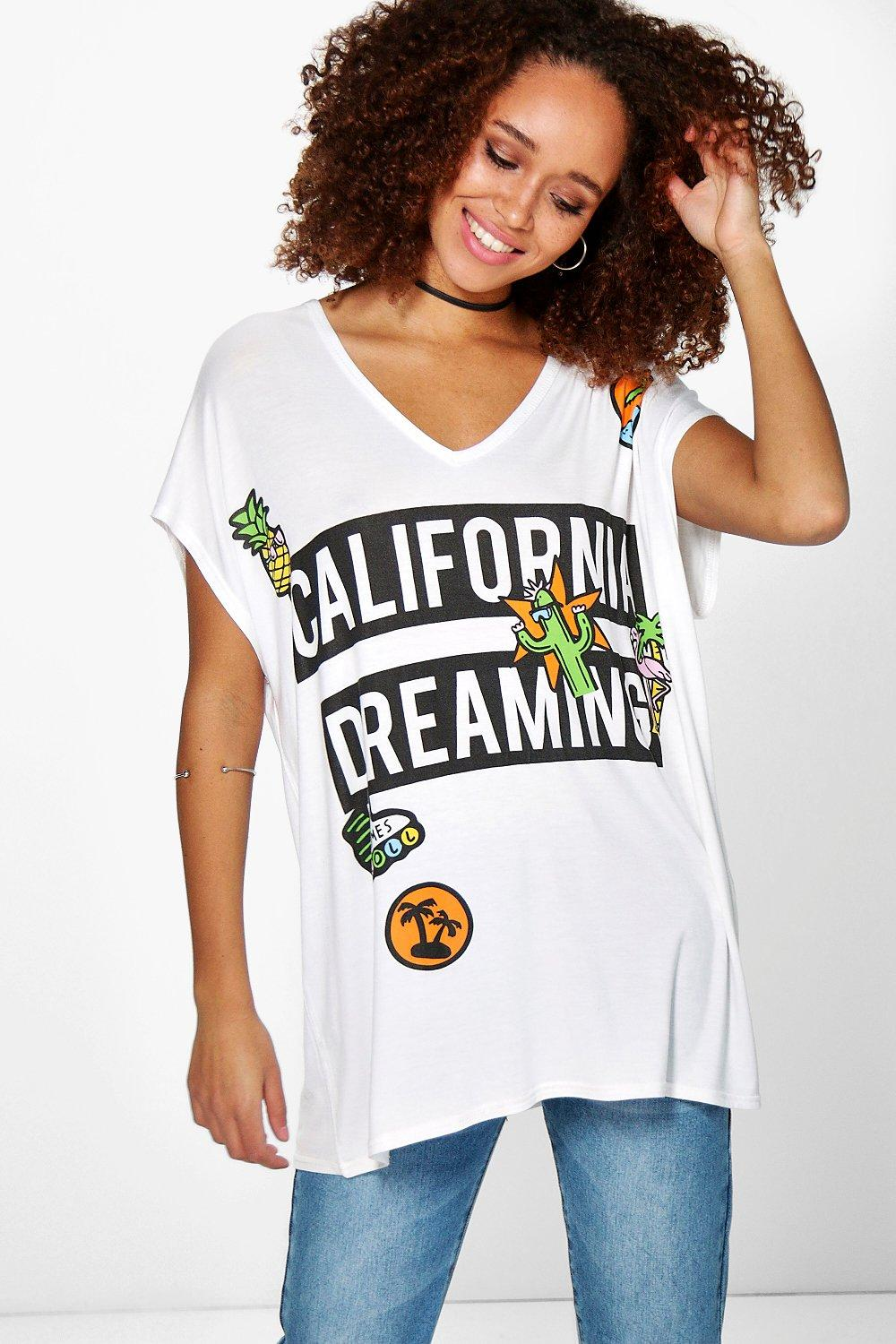 Imogen California Patch Print Oversized Tee