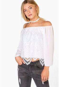 Olivia Woven Off The Shoulder Lace Top