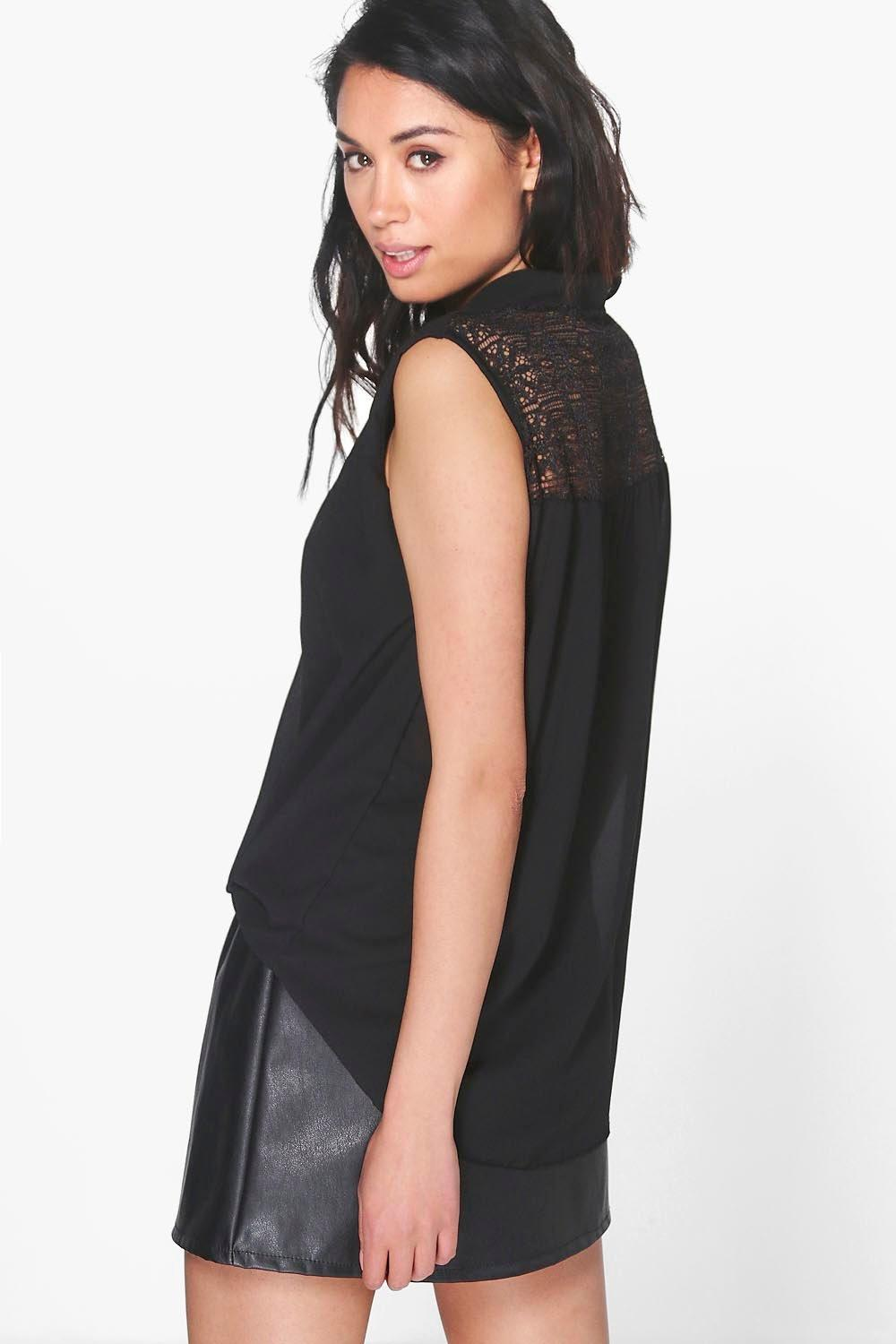 Lacey Lace Back Woven Wrap Front Top