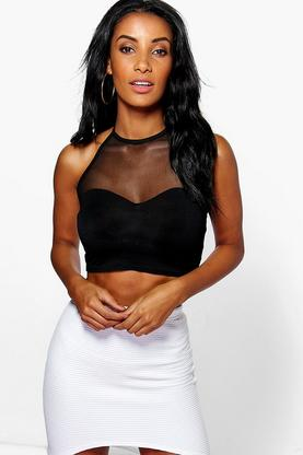 Eva Mesh Top Halterneck Crop Top