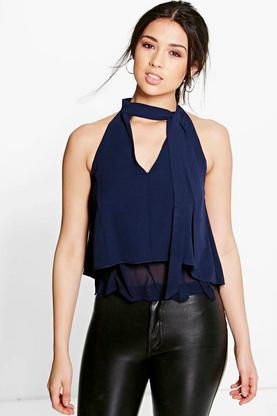 Bella Tie Neck Layered Top