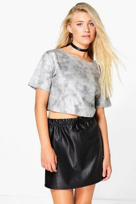 Millie Metallic Print Crop T-Shirt