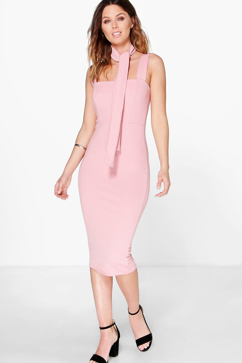 Elvira Neck Tie Detail Midi Dress