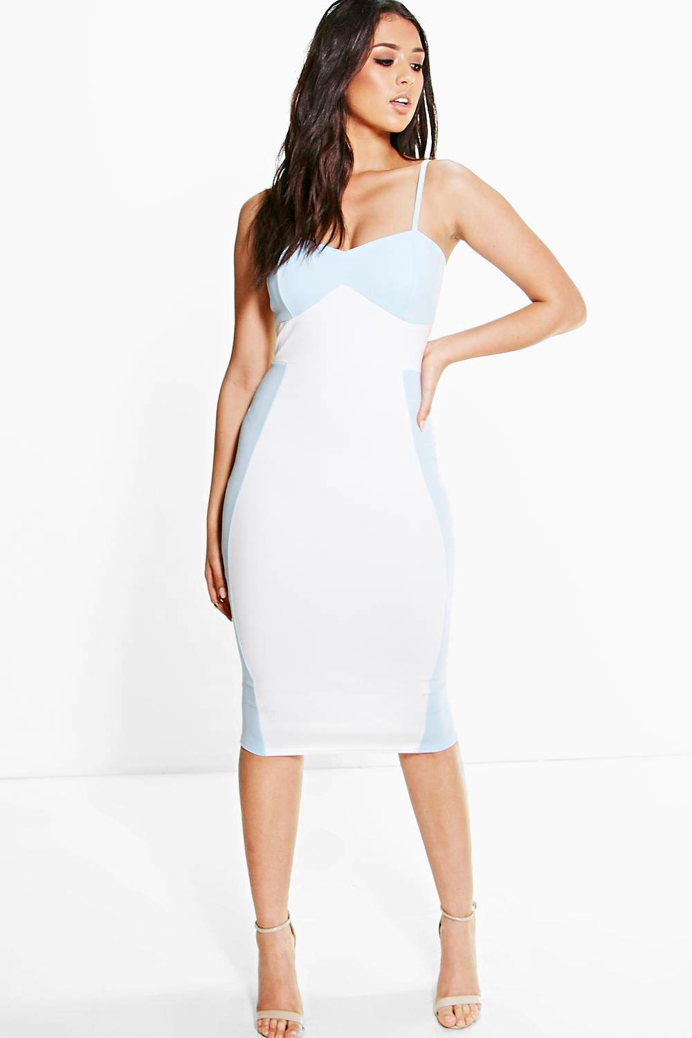 Brandi Strappy Colour Block Panel Detail Midi Dress