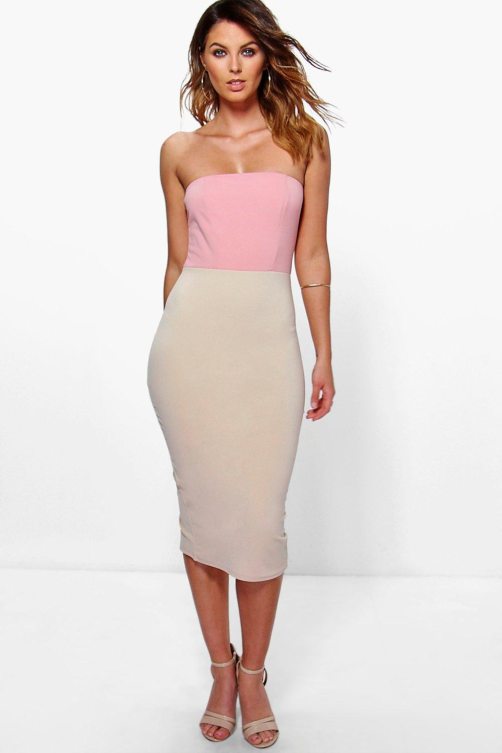 Daphne Bandeau Colour Block Detail Midi Dress
