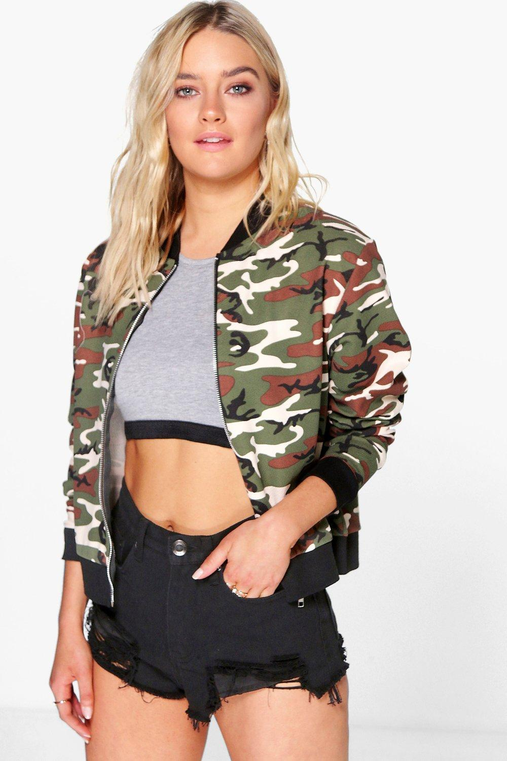 boohoo brooke camo crepe ma1 bomber pour femme ebay. Black Bedroom Furniture Sets. Home Design Ideas