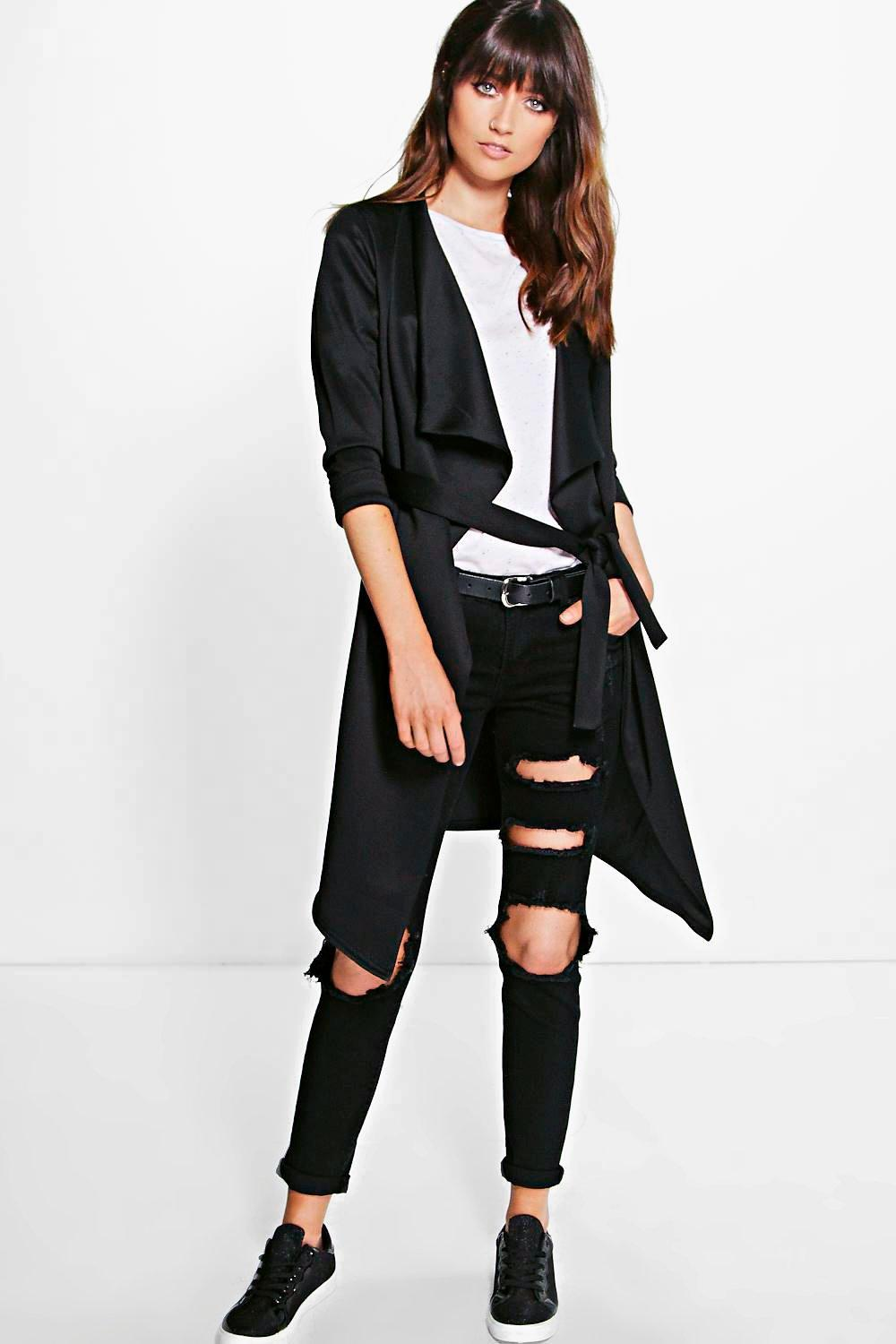Emilia Scuba Waterfall Belted Jacket