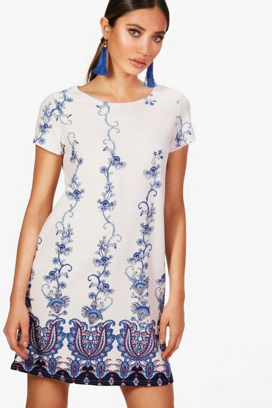 Hayley Paisley Boarded Cold Shoulder Shift Dress