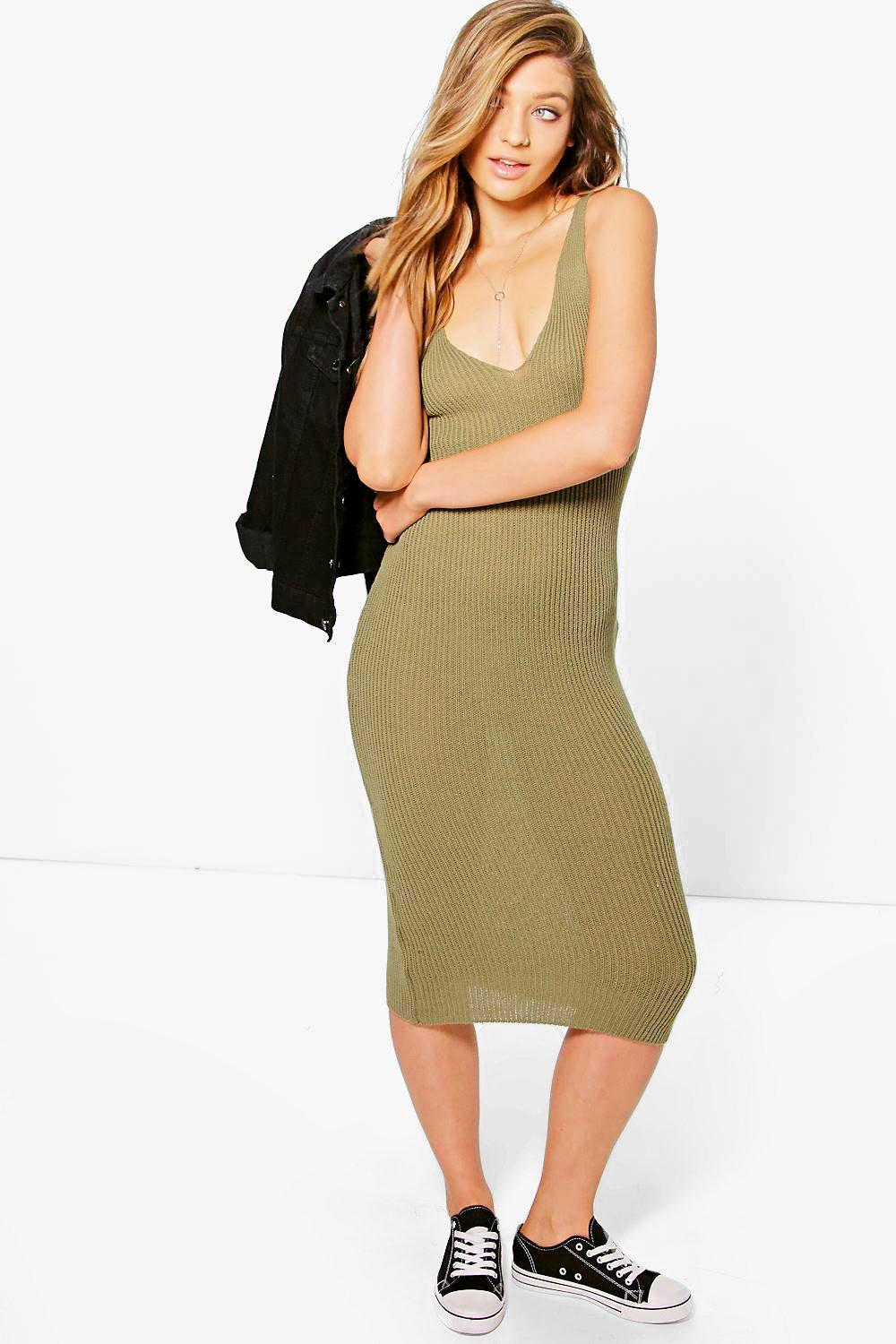 Laura Rib Knit Plunge Midi Dress