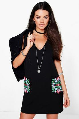 Kassie Cap Sleeve Floral Pockets Shift Dress