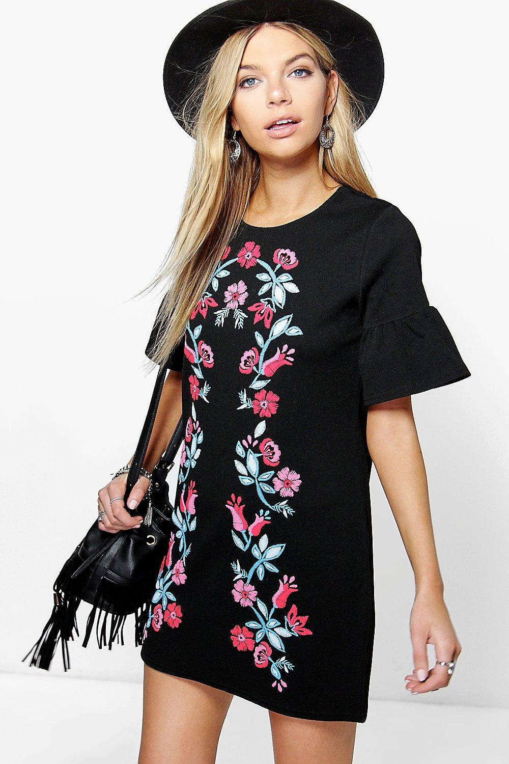 Ruth Printed Embroidery Bell Sleeve Shift Dress
