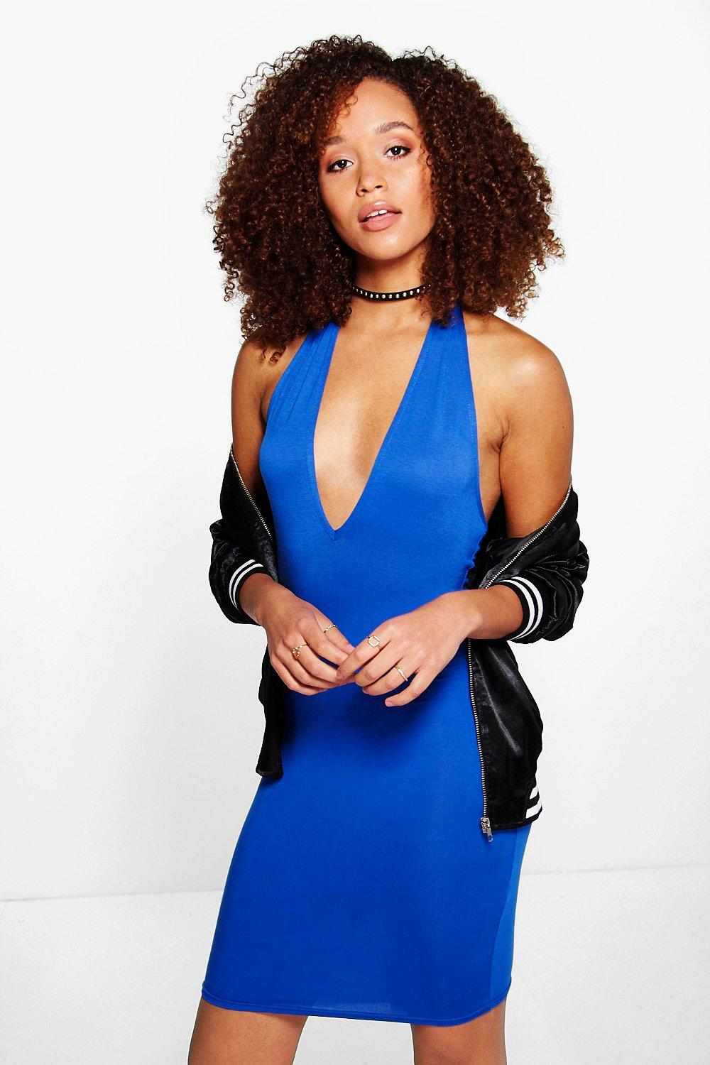 Tanya Basic Deep Plunge Bodycon Dress
