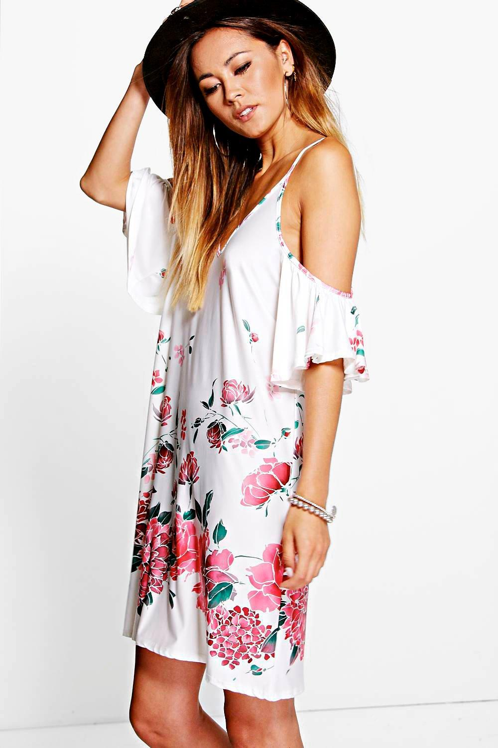 Tanya Ruffle Cold Shoulder Floral Dress