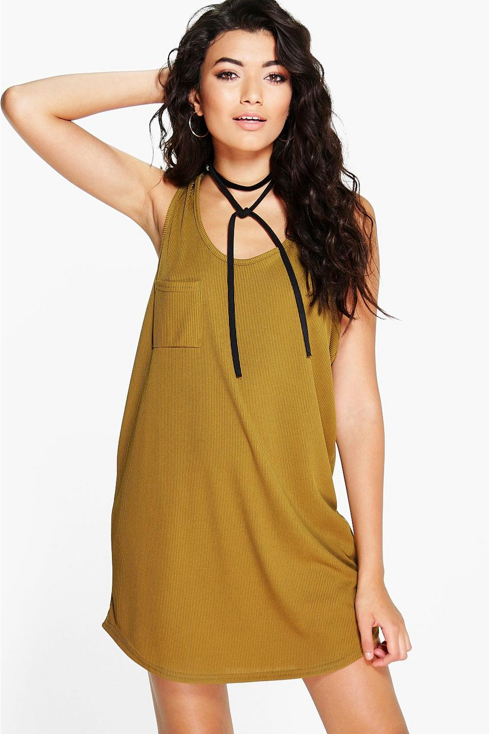 Marla Basic Ribbed Racer Back Pocket Shift Dress