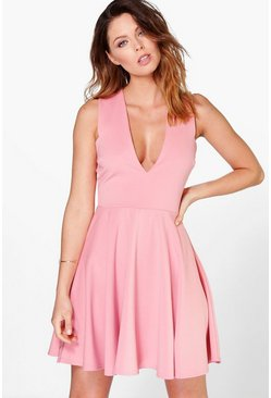 Scarlett Plunge Neck Full Skirt Skater Dress