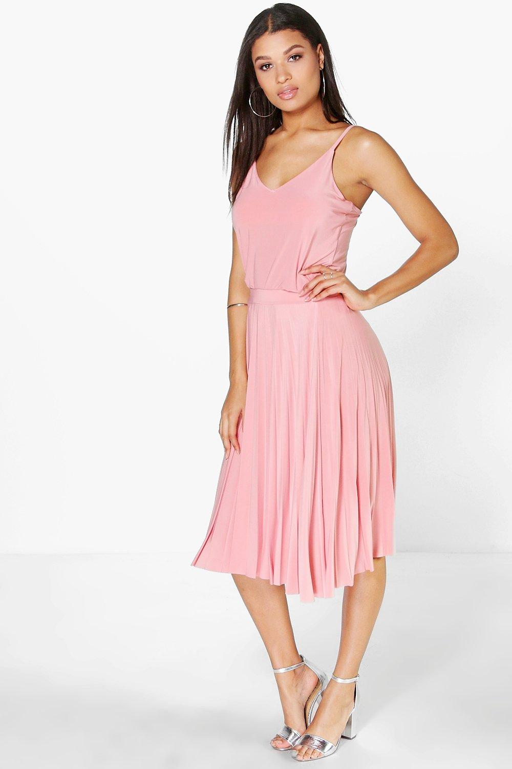 Helda Pleated Midi Skirt & Cami Co-Ord Set