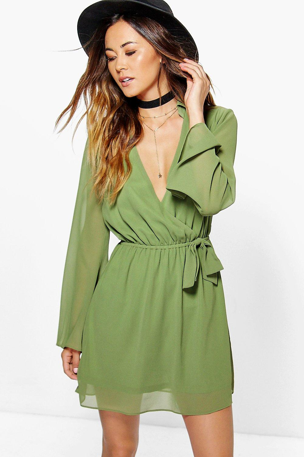 Woven Wrap Shirt Dress  khaki