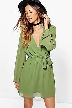 Mia Woven Wrap Shirt Dress