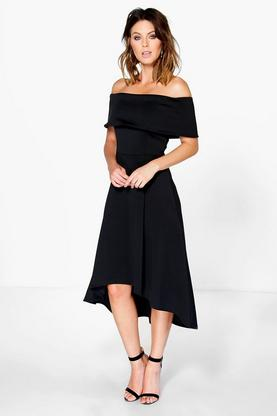 Luana Off The Shoulder Dip Hem Skater Dress