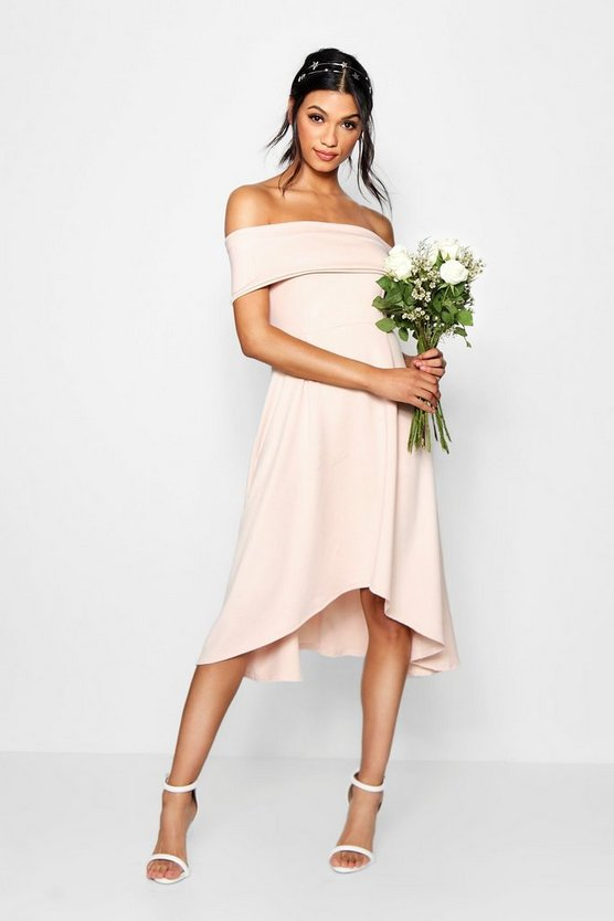 Lizzy Off The Shoulder Dip Hem Skater Dress