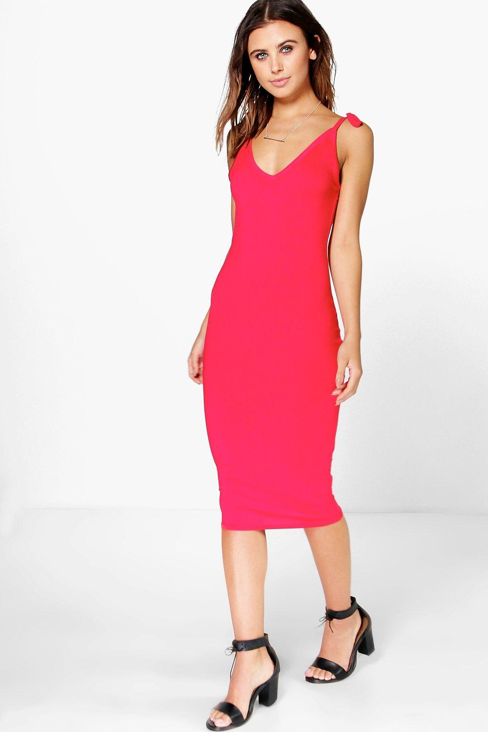 Allie Bow Strappy Midi Bodycon Dress