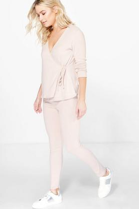 Boutique Alisha Wrap Front Soft  Knit Loungewear Set