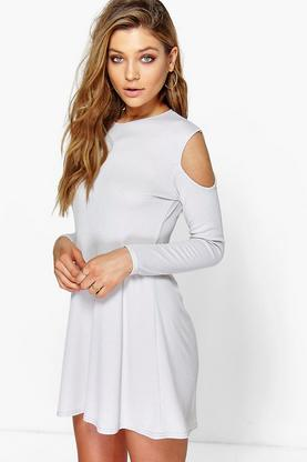 Neve Cold Shoulder Rib Knit Swing Dress