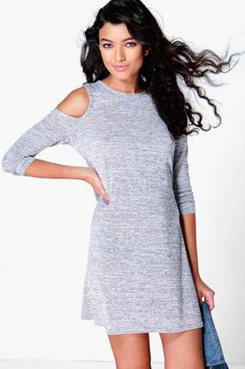 Libby Cold Shoulder Knitted Swing Dress