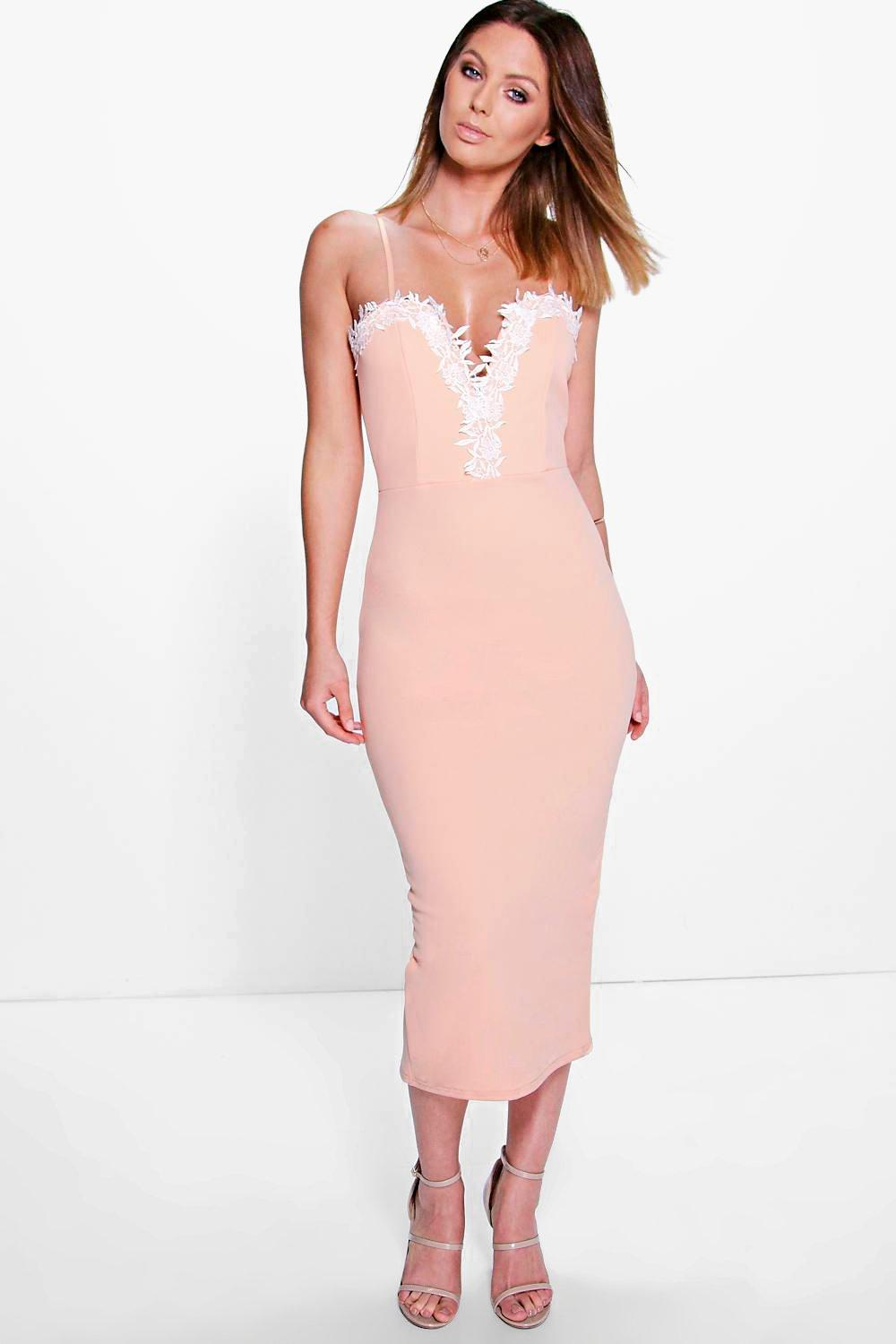 Elsie Lace Plunge Detail Midi Dress